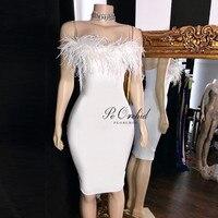 PEORCHID атласные Короткие коктейльные платья Белый Вечерние платье 2019 женские элегантные Vestido Формальные Корто перья платье для выпускного ба