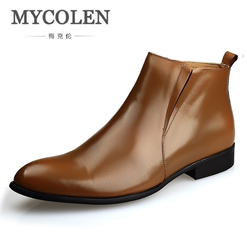 MYCOLEN Brand Men Boots Top Quality Handsome Comfortable Leather Martin Boots Business Velvet Formal Shoes Stivali Uomo Pelle mycolen brand chelsea men boots genuine leather handsome retro boots men high top business leather shoes scarpe uomo di marca