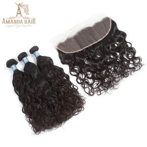 Amanda Virgin Brazilian Water Wave Bundles With Lace Frontal Closure 13*4 Ear to Ear Human Hair Bundles with Closure Frontal
