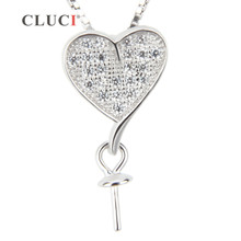 FREE SHIPPING, CLUCI women jewelry Heart Shape 925 sterling silver necklace pearl pendant accessories, can stick pearl on