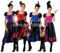free shipping Saloon Girl Burlesque Can Can Cowboy Fancy Dress Ladies Western Costume 4 colors S-5XL  8544