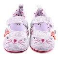 Милый Кот Дизайн Крюк и Петля Хлопок Малыша Девушка Новорожденный Обувь Детская Одежда Обувь 0-12 М