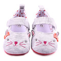 Cute Cat Design Hook&Loop Cotton Toddler Newborn Baby Girl Shoes Baby Dress Shoes 0-12M