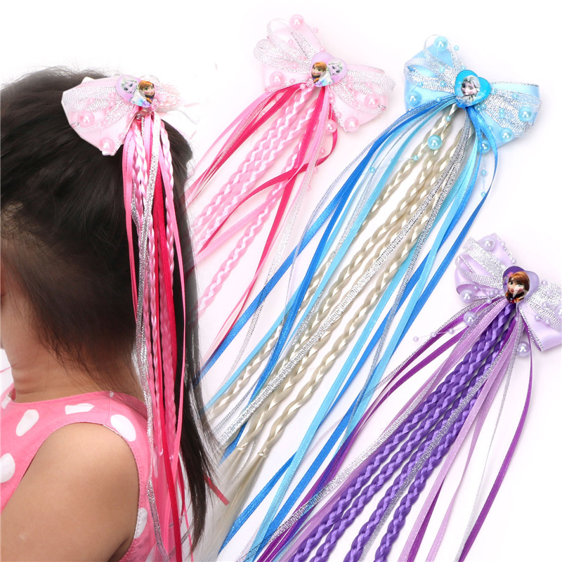 1PCS Hair Accessories Princess Elsa Anna Elastic Hair Bands Ribbon Flower Hair Rope Pink Blue Headwear Girls Party Gifts