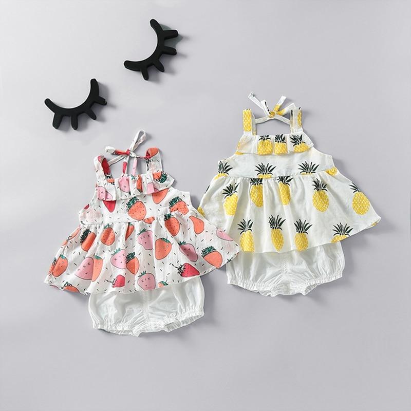 WYNNE GADIS Baby Girls Fruit Print Spaghetti Strap Ruffles Vest Blouse Tops Summer Beach Shorts 2Pcs