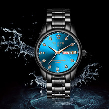hot deal buy fashion alloy mens analog quarts watches steel strip fluorescent men wrist watch 2018 mens watches top brand luxury casual clock