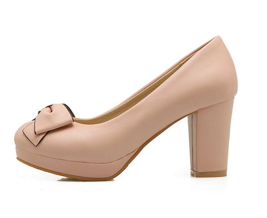 Dousin partin 패션 bowtie 여성 펌프 하이힐 핑크/블루 패션 여성 펌프 신발 여성 슬립 숙녀 결혼식 신발-에서여성용 펌프부터 신발 의  그룹 3