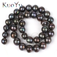 12mm Natural Black Freshwater Pearl Beads High Quality Round Loose Beads 15 For DIY Making Bracelet Necklace Jewelry Wholesale