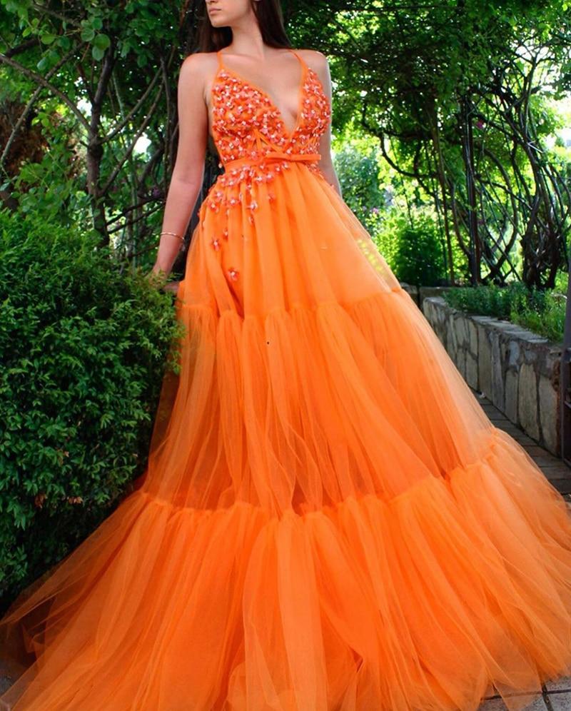 Smileven  V Neck evening dresses Sequined Orange Halter Prom Dress A Line Elegant Party Evening Gowns patterns plus size
