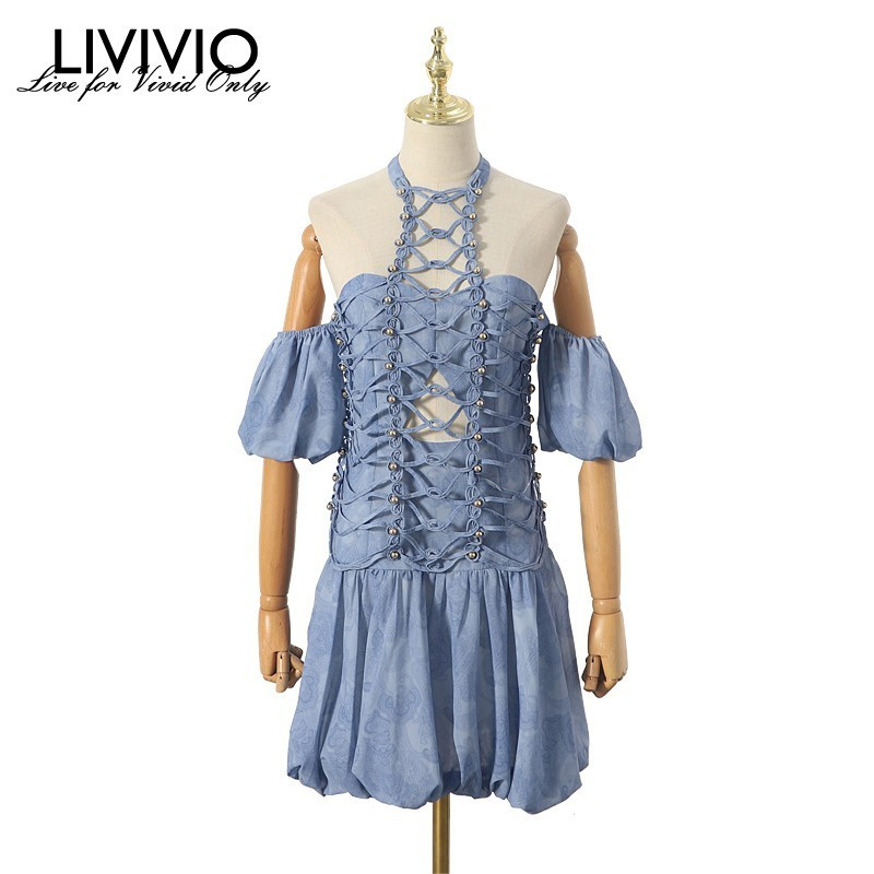 LIVIVIO Off Shoulder Strapless Halter Neck Short Puff Sleeve Lace Up Mini Dress Women Boho