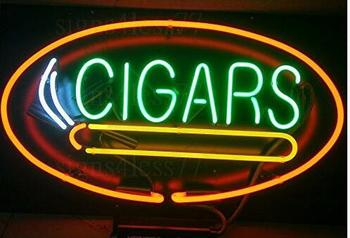 Custom Cigars Glass Neon Light Sign Beer Bar