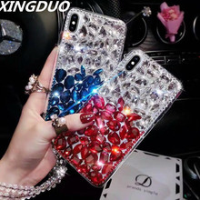 XINGDUO phone case for iPhone X XS MAX XR 5 6 7 8 Plus Big bling stones Gradation color Luxury Crystal big Diamond shell