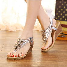 2016 summer  women shoes fish  beaded diamond slope with women sandals women Sandals