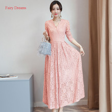 Fairy Dreams Women Long Dress Blue Pink Red Solid White Lace Elegant Maxi Dresses 2017 Autumn Korean Plus Size Clothing vestidos