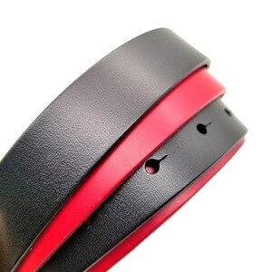 Image 5 - حزام نسائي فاخر من الجلد الطبيعي بحزام ذهبي اللون بإبزيم مستدير باللونين الأسود والأحمر