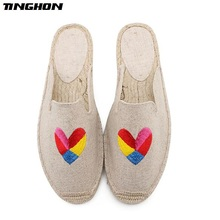 TINGHON Fashion Women Ladies Espadrille Shoes Canvas Embroidery Heart Flamingo Hemps Fisherman Flats Shoes