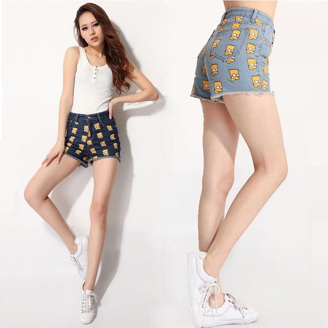 Mulheres denims Marca Shorts Moda Casual cabeça Simpson impresso calça jeans curto Verão QUENTE de Cintura Alta Meninas Curto Feminino S/M/L