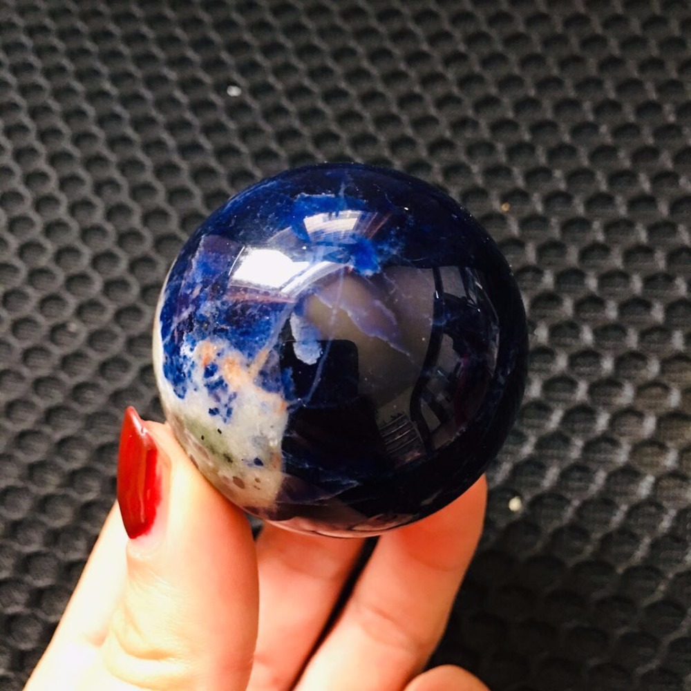 45mm Natural Blue Sodalite Sphere Quartz Crystal Sphere Carving Gem Stone Ball Wicca Healing Crystals(China)