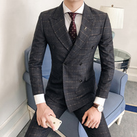 Double Breasted Plaid Suit Men 2019 Navy Blue Gray Wedding Suits For Men Slim Fit England Style Smoking Masculino 3 Piece Q537