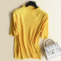 S 2XL Short Sleeve Sweater Summer Autumn Thin Pullovers Women Round Neck Twist Knit Sweaters Tops