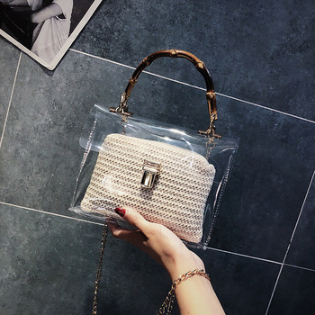 Amberler Women PVC Handbags Summer Ladies Shoulder Bag New Fashion Ladies Chain Crossbody Bag Clear Transparent Female Flap Bags image