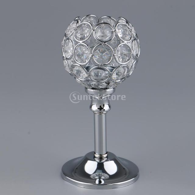Crystal Metal Candle Holder Candlestick Wedding Holidays Christmas Events Tabletop Home Decor Ornament Tealight Candle Holders 2