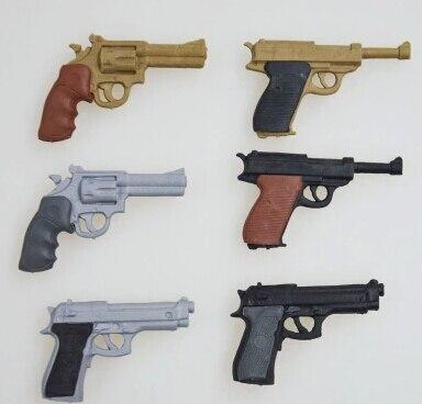 Hot Military New 3D Eraser for Personal Collection Gun Eraser Revolver Eraser Desert Eagle Pistol Eraser 6 Pieces Per Lot