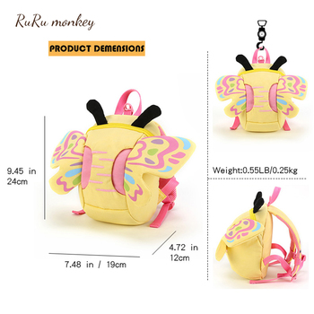 Kids Animal Bees Mini Backpack Plush SchoolBag Baby Girls Butterfly Children Cute Bookbag Kindergarten Toys Gifts School Bags