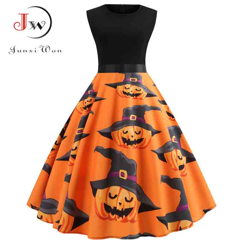 Halloween Vintage Dress Women Pumpkin Print Patchwork Midi Autumn Winter Dresses Long Sleeve Elegant Party Dress Plus Size 3