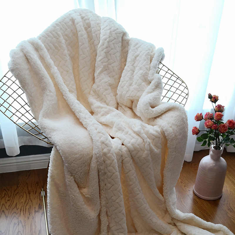 Зимнее Двухслойное толстое одеяло Ferret кашемировое супер мягкое теплое шерстяное одеяла фланелевые флисовые плед на диван кровать Белый ba