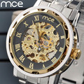 MCE Men watches New Fashion skeleton Gold watch Luxury brand Full Steel Mechanical Self wind Wristwatches Water Resistant Clock