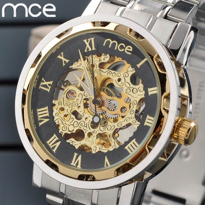 compare prices on water resistant self winding watches men online mce men watches new fashion skeleton gold watch luxury brand full steel mechanical self wind wristwatches