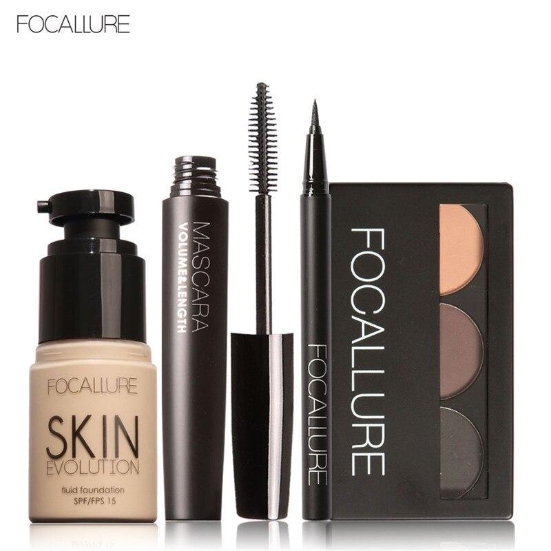 FOCALLURE 4 Pcs Makeup Set Eyebrow Powder Eyebrow Pencil Mascara Eyeliner Face Foundation Primer Set
