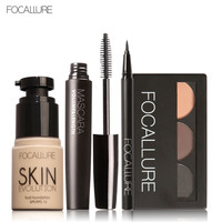 Focallure 4 stücke make-up set augenbraue pulver augenbrauenstift mascara eyeliner gesicht foundation primer set