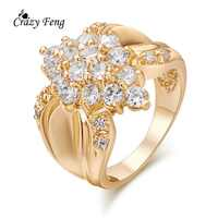 2017 New Brand Trendy Rings For Women Wedding CZ Jewery Size 5.5 6.5 7.5 Cubic Zirconia Round Rings