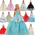 5 Pcs Handmade Fashion Wedding Party Gown Dresses & Clothes for Barbie Doll Xmas Gift Ramdon style