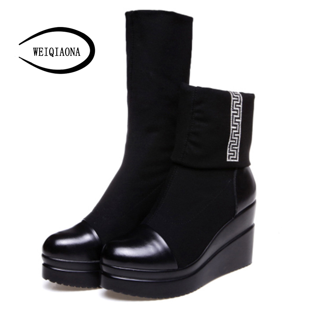 WEIQIAONA 2019 Winter Women Shoes Ankle Boots Sexy Stretch