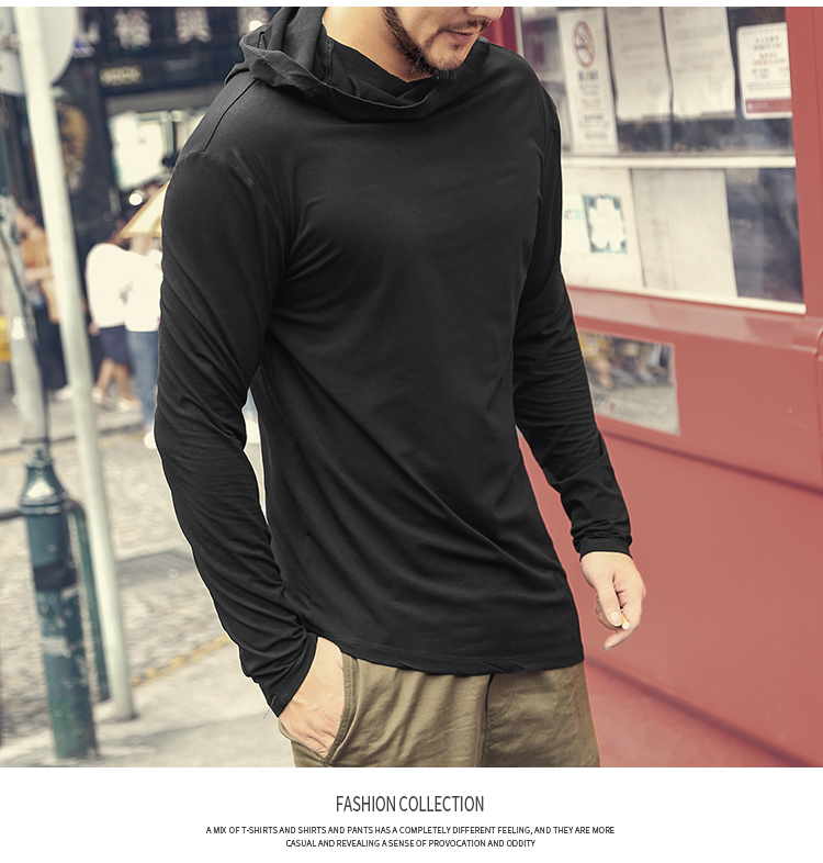 HTB1GK63XsfrK1RkSmLyq6xGApXaS - Men Autumn New European Style High Collar Long Sleeve Hooded T-shirt with Cap Men Slim Casual Cotton Irregular T-shirt T908