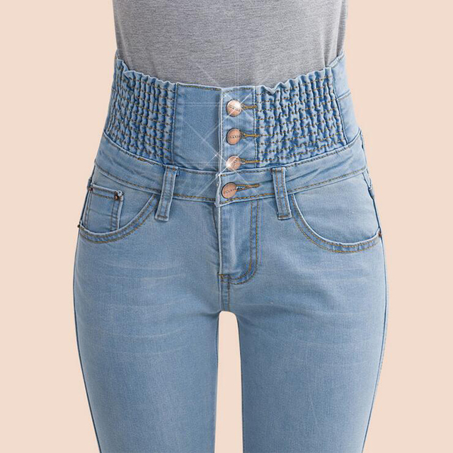 718f95d3b 2017 Pantalones Vaqueros de Mujer de Cintura Alta Elástica Flaco Denim  Lápiz Largo pantalones Más El Tamaño 40 de la Mujer Jeans Feminina camisa  ...