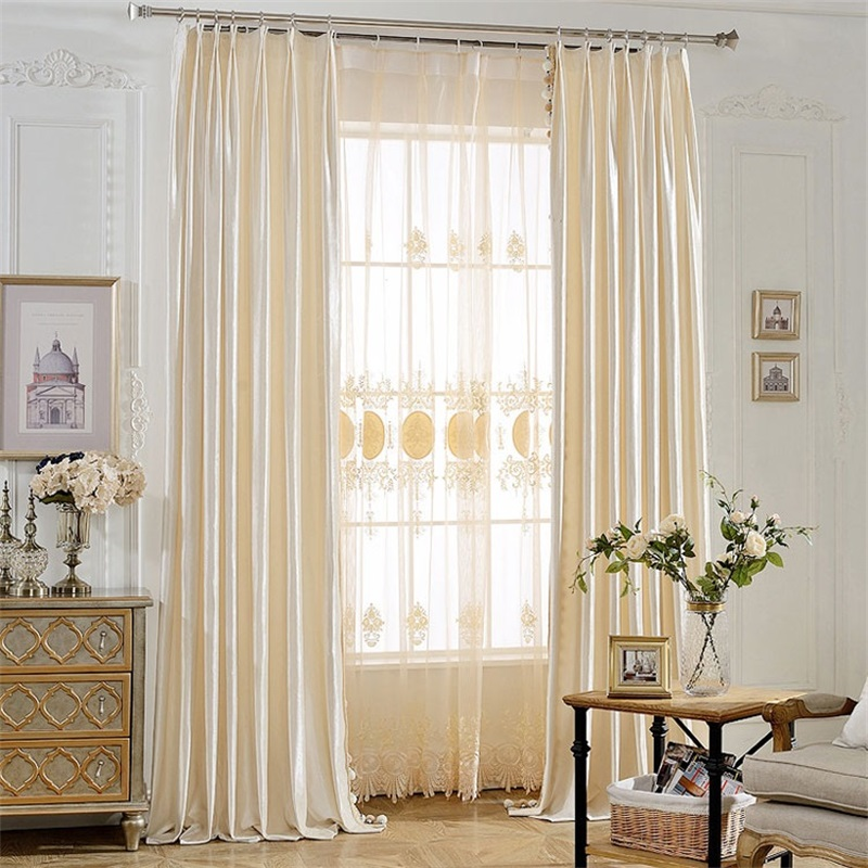US $13.23 44% OFF|European Elegant Beige Curtains Luxury Flannel Fabric  Curtains For Living Room Bedroom cortinas Window Blinds Drapes T124#4-in ...