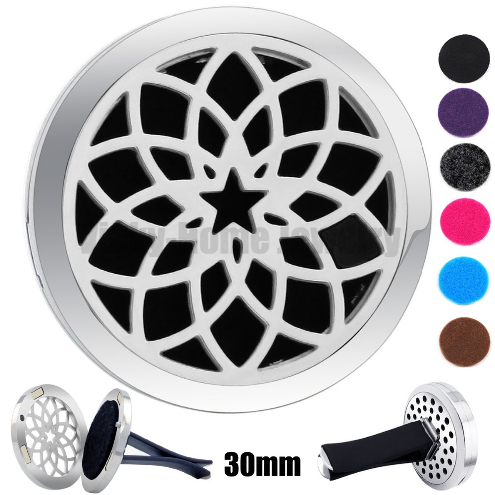 30mm Round Steel Lotus Flower With Star Aroma Essential Oils Car