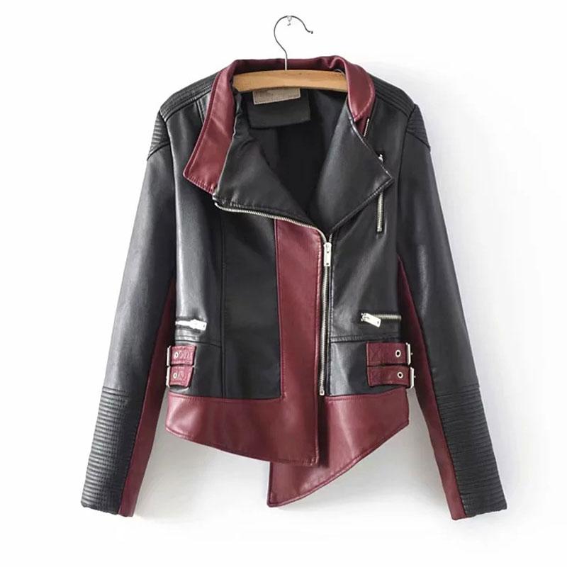 2019 Autumn PU   Leather   Jacket Women Windbreak Jackets Patchwork Motorcycle Short Coats Irregular   Leather   Outwear WWP213