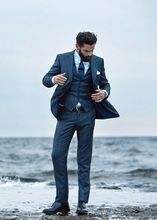 2017 Latest Coat Pant Designs Navy Blue Men Wedding Suits Slim Fit 3 Piece Tuxedo Custom Groom Suit Prom Blazer Terno Masculino
