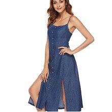 YZ Backless Midi Dress Women Summer Vestidos 2019 New Button Denim Sexy Spaghetti Strap Split Ladies Jeans Dresses Female
