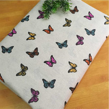 Butterfly Printed Canvas Fabric Cotton Linen Sewing Fabric DIY Patchwork Quilting Material Telas Sewing Cloth For Crafts Textile 100pcs 10x10cm square floral cotton fabric diy sewing doll quilting patchwork textile cloth bags crafts