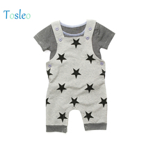 цены 2018 Top Quality Baby Rompers  Star Printed Jumpsuit Children New Born Baby Clothes Kids  Costumes Grey Blue Boy Romper with Hat