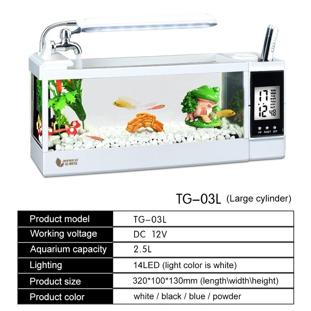 Aquarium Mini Aquarium d'aquarium d'aquarium avec écran d'affichage à cristaux liquides de lumière de lampe à LED et Aquarium de réservoir de poissons d'horloge 2L ou 2.5L