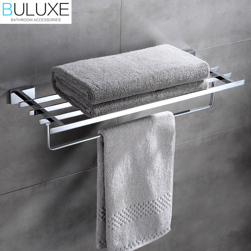 все цены на BULUXE Brass Bathroom Accessories Towel Bar Rack Holder Chrome Finished Wall Mounted Bath Acessorios de banheiro HP7761