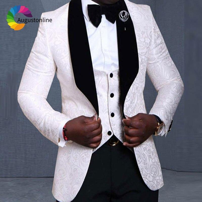White Printed Pattern Men Suits Wedding Black Shawl Lapel Floral Groom Tuxedo 3 Piece Slim Fit Best Man Blazer Jacket+Pants+Vest
