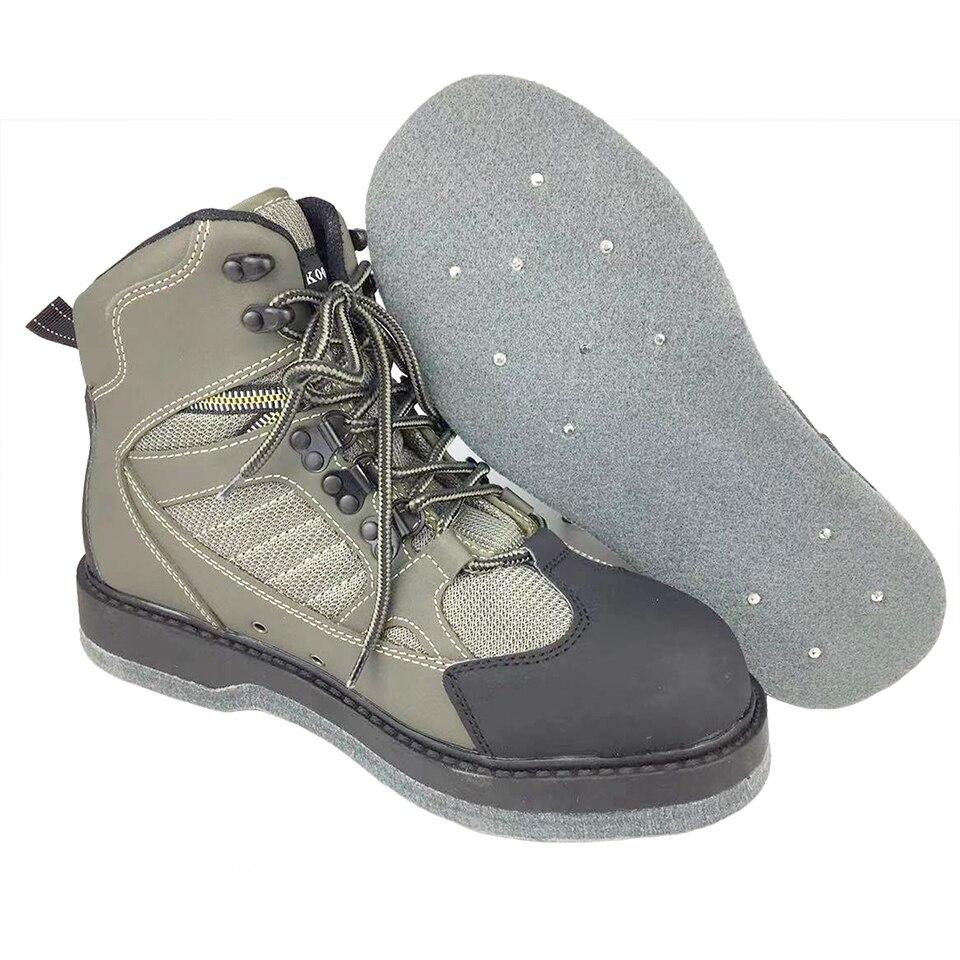 Chaussures de pêche à la mouche Wading Waders Aqua en amont chasse baskets ongles feutre semelle botte respirante Rock Sport antidérapant pour poisson pantalon